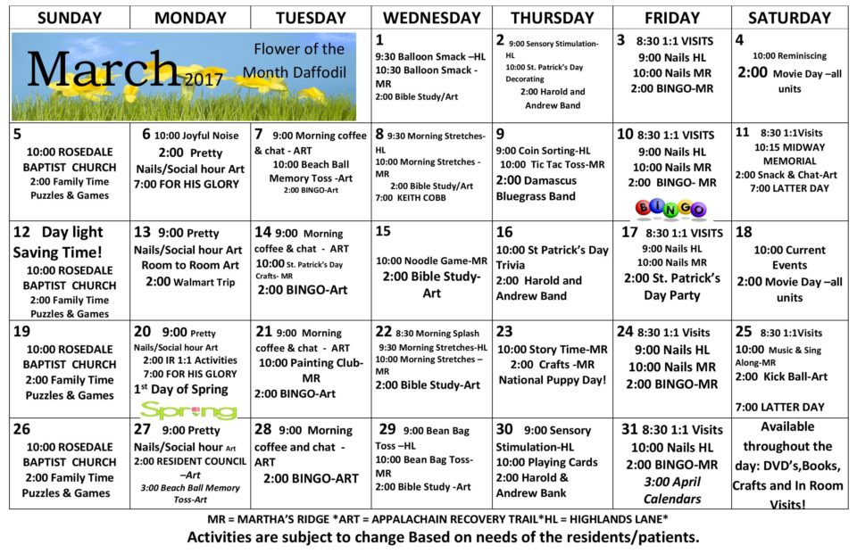 Abingdon Health  Rehab Center  Activity Calendar  March