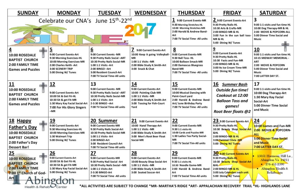 Abingdon Health & Rehab Center Activity Calendar- June 2017